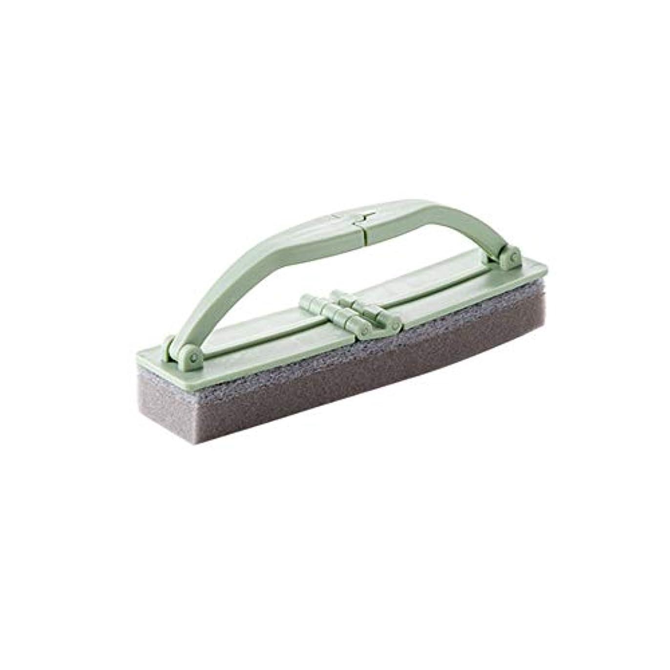 吸収剤誇大妄想採用するポアクリーニング 折りたたみ式の浴室スポンジハンドル付き強力な汚染除去タイルクリーニングスポンジブラシ2 PCS マッサージブラシ (色 : 緑)
