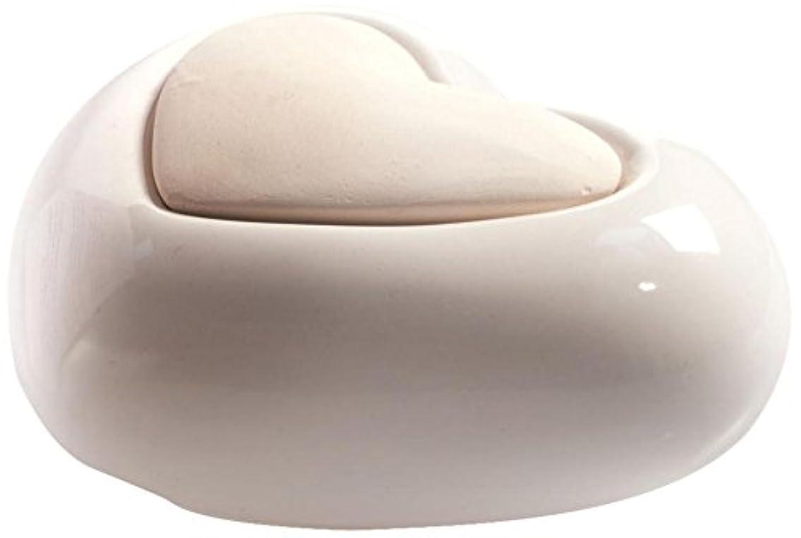 未接続血まみれの天のMillefiori HEART ルームフレグランス用 ハート型セラミックディフューザー ホワイト LDIF-CM-001
