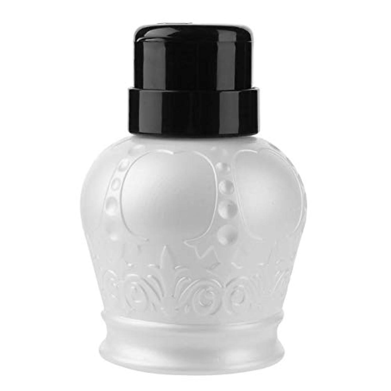 傾く適性料理TOOGOO ポンプディスペンサーネイルアート ポリッシュ ウォッシュリムーバー アルコール液体 クリーナー 空のプラスチックプレスポンプ ボトルネイルDiyマニキュアツール(ホワイト)