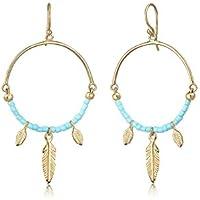 Elli Women Dangle Feather Boho Festival 925 Sterling Silver Gold-Plated Earrings
