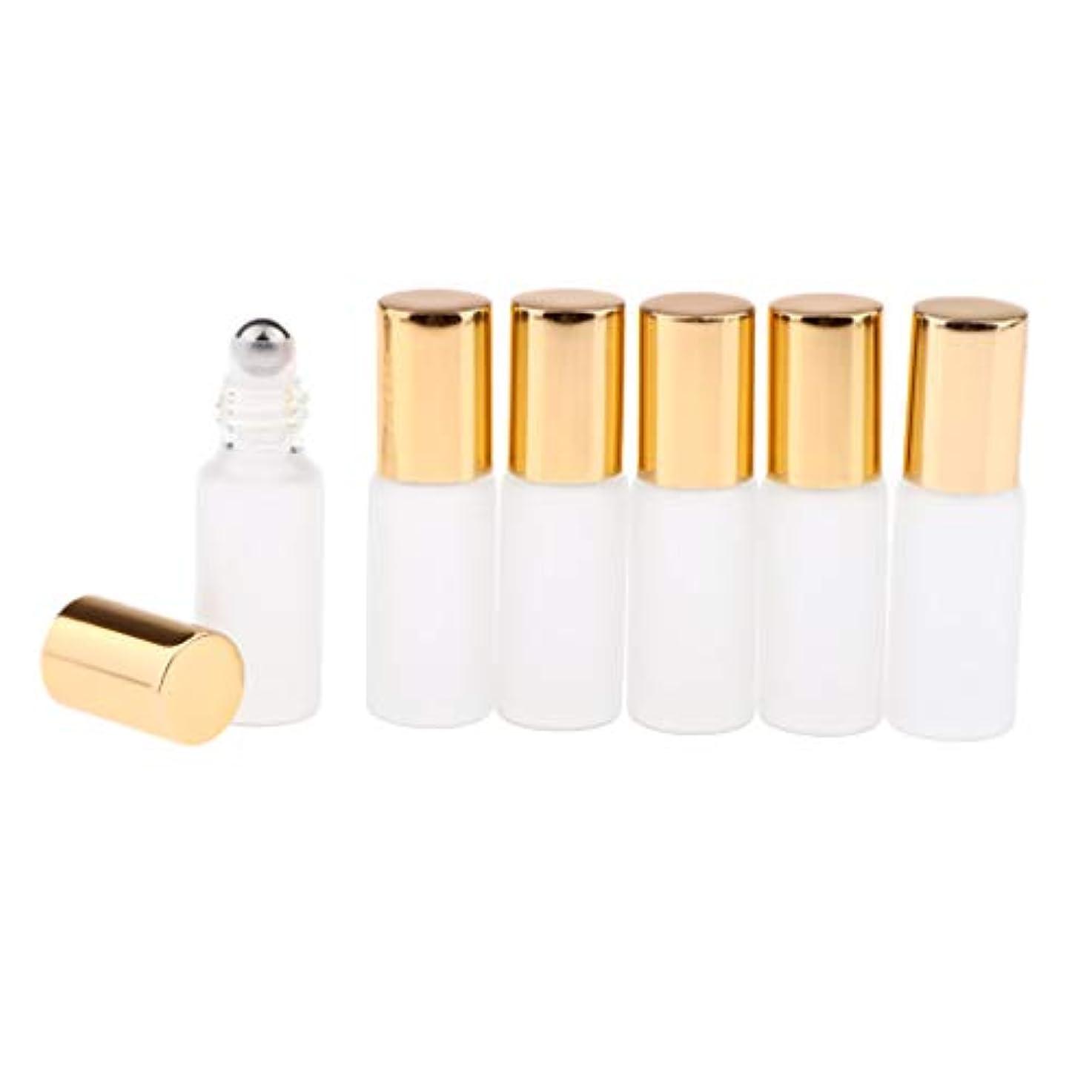 歌飛ぶ提供する3色選ぶ ロールオンアロマボトル 小分けボトル 詰替え容器 漏れ防止 ガラス製空のボトル 6本セット - ゴールド
