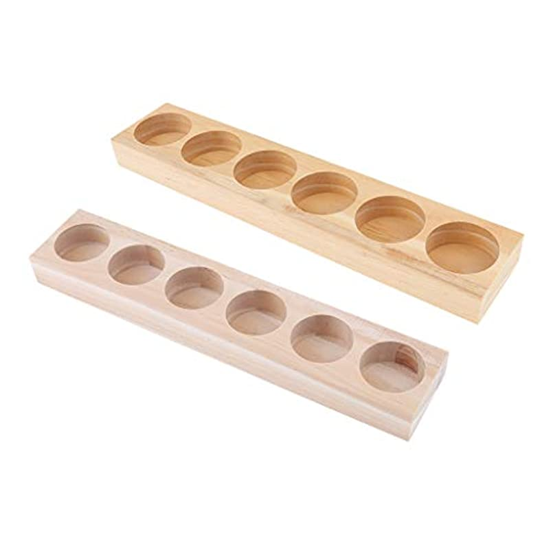 寮腹痛光沢のある2個 エッセンシャルオイル 展示ラック 木製ホルダー 香水 ディスプレイ 収納 15/30ml