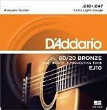 D'Addario EJ10 80/20ブロンズ Extra Light(10-47) ダダリオ アコースティックギター弦 EJ-10 【国内正規品】