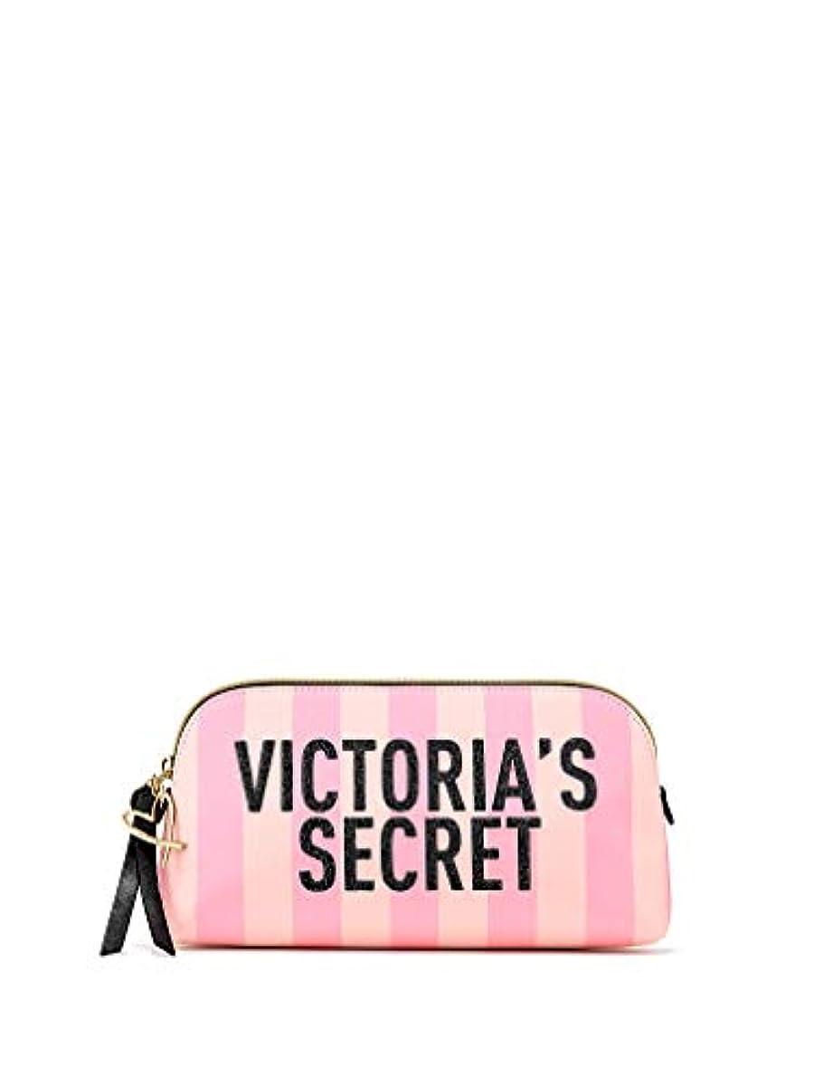 ジュースがんばり続ける受け入れたVictoria's Secret ヴィクトリアシークレット VS ロゴ ストライプ 化粧ポーチ ピンク [並行輸入品]