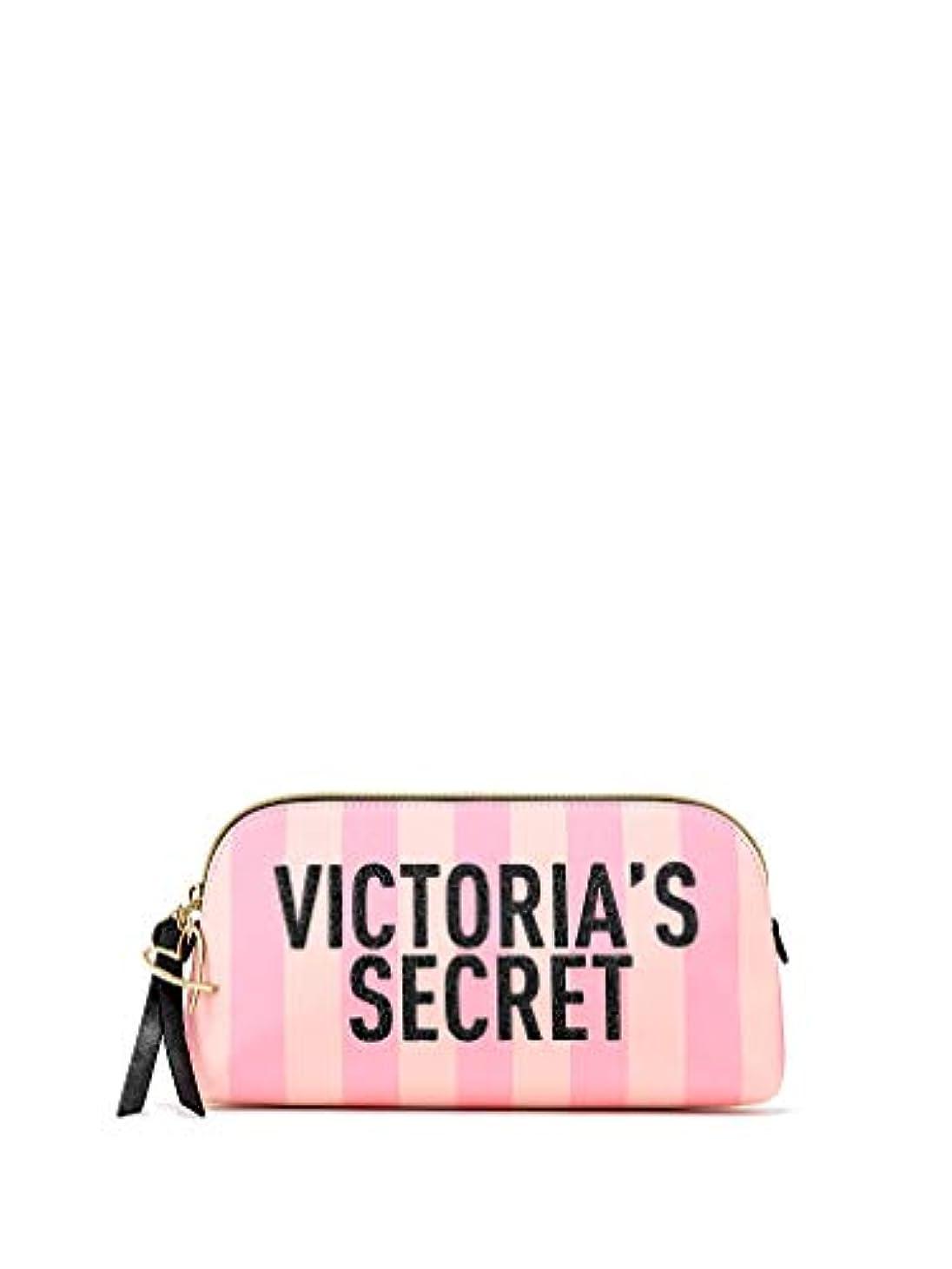 聖人欲望必要とするVictoria's Secret ヴィクトリアシークレット VS ロゴ ストライプ 化粧ポーチ ピンク [並行輸入品]