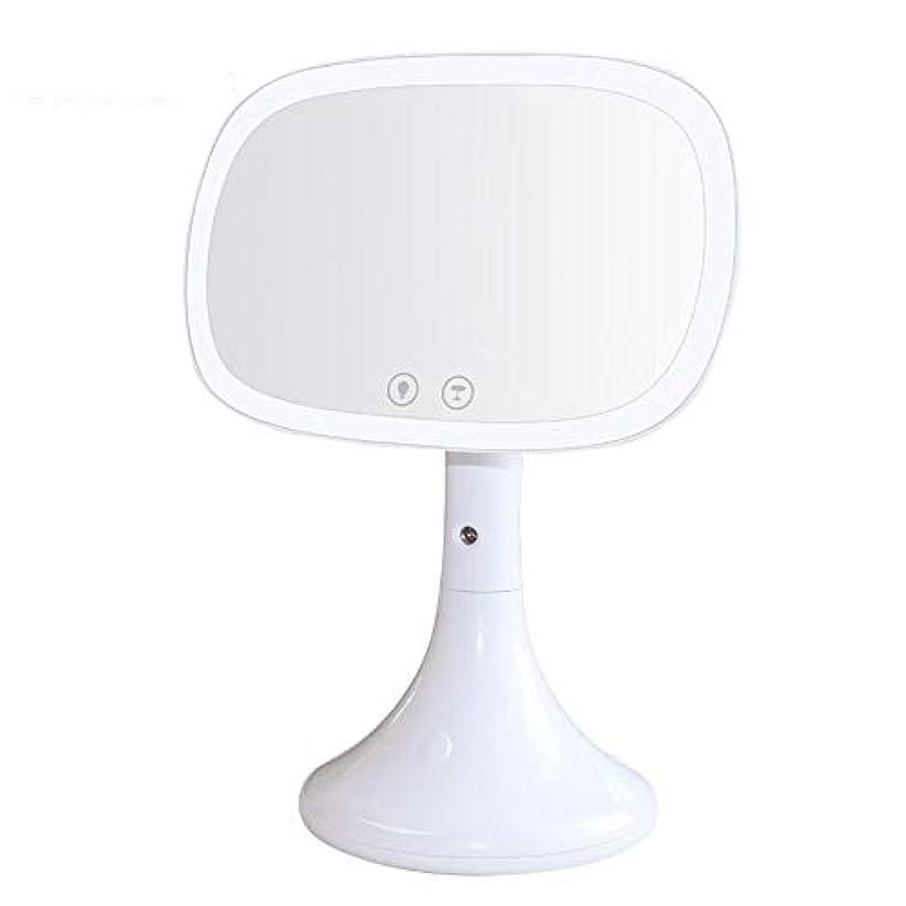 お金ゴムテーマ膨張する流行の USBデスクトップ化粧鏡LED美容保湿化粧鏡水スプレーホワイトピンク (色 : White)