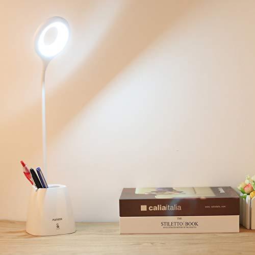 FunGor LED デスクライト 卓上ライト 目に優しい 筆立て/携帯スタンド スタンドライト デスクランプ タッチセンサー 三段階調光 360度調節 USB充電対応 省エネ 読書/勉強/仕事に適用