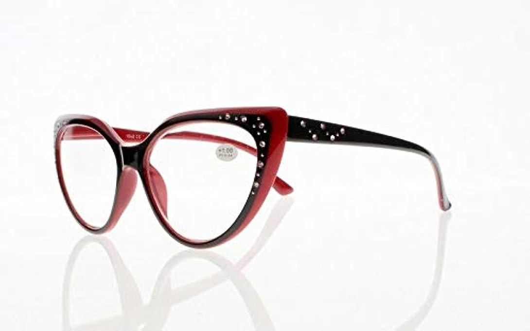 自我スロープ薄いですFidgetGear レディース3色高級キャットアイラインストーン老眼鏡+1.00?+4.00新 赤
