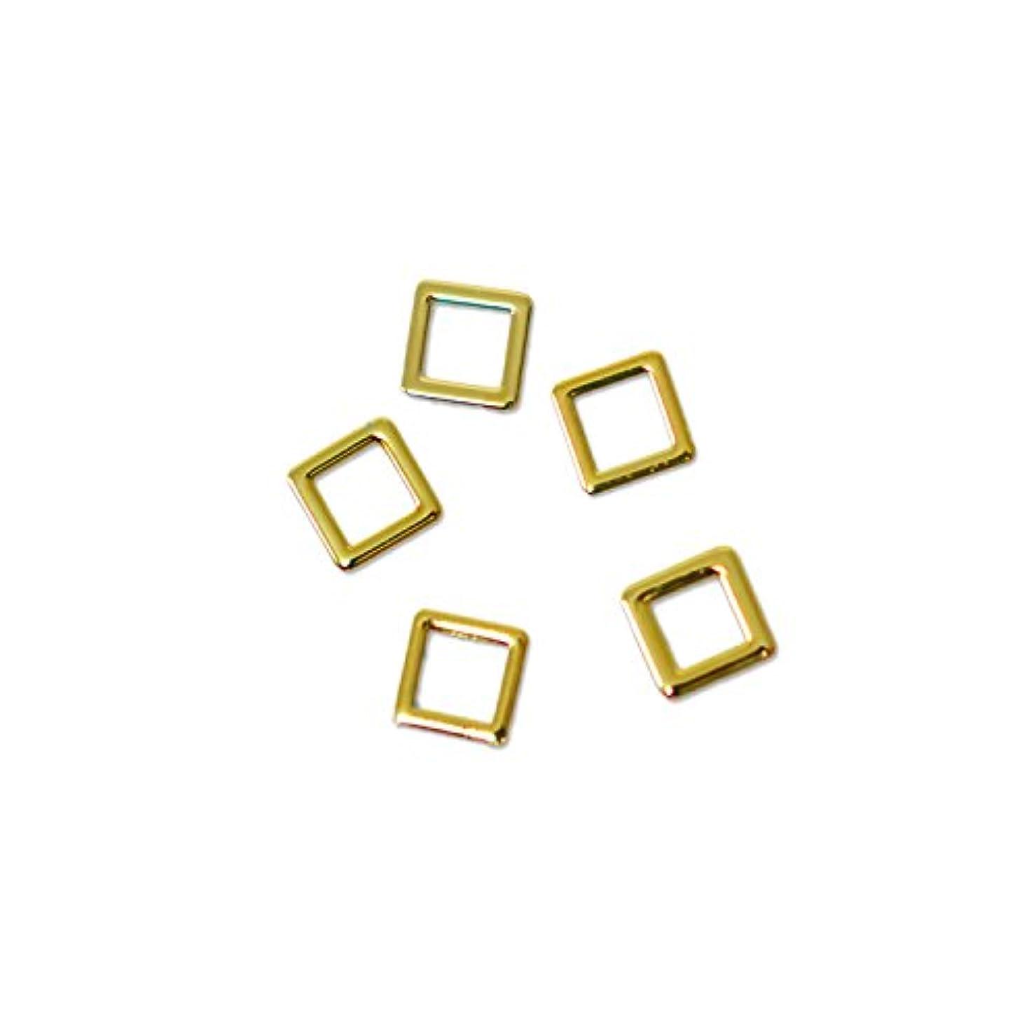 司教枯渇する腰薄型メタルパーツ10001 スクエア 約3mm(内寸約2mm) ゴールド 20個入り 片面仕上