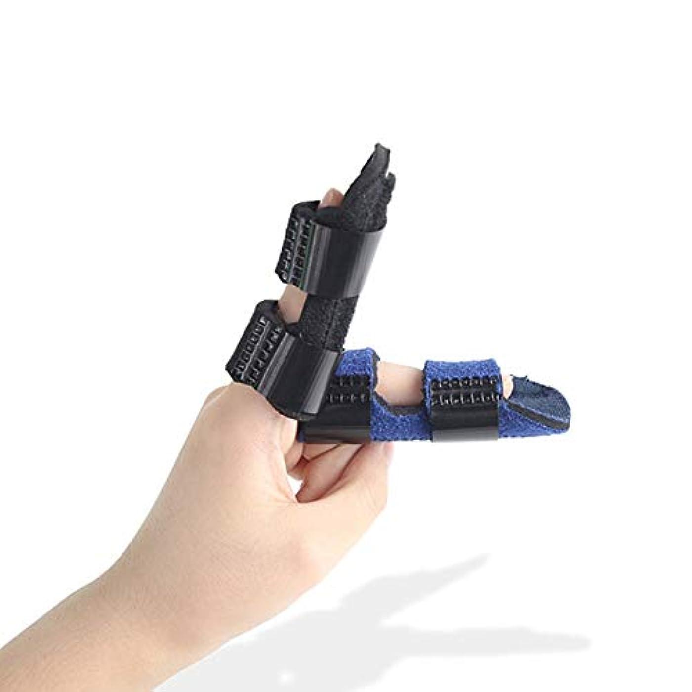 志す類推フォージ大人と子供が指ナックル固定化のために作られた、ストレートカーブ、調節可能なベルクロのためにスプリント、サポートブレースを指 (Color : 青)