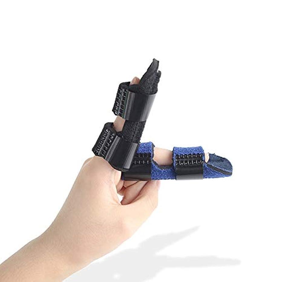細菌欺略奪大人と子供が指ナックル固定化のために作られた、ストレートカーブ、調節可能なベルクロのためにスプリント、サポートブレースを指 (Color : 青)
