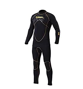 MORGEN SKY ウェットスーツ メンズ 5mmネオプレン ダイビングスーツ 冬のサーフィン向け 素潜り フルスーツ バックジッパー仕様 手足首ジップ付き 1106(メンズ,S)