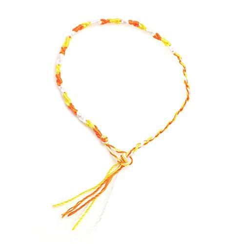 [해외]아시안 테두리 색상 미산가 팔찌 [옐로우] 여성 남성 유니섹스 여성용 남성용 단순 2WAY 발목 발목 팔찌 에스닉 민족 계 실 부적 소원 예쁜 캐주얼 액세서리/Asian border color Misanga bracelet [yellow] Women Men Unisex for women for men simp...