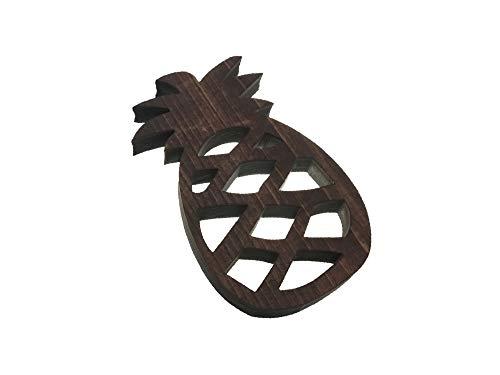 (アンドラキ) AndLaki 鍋敷き おしゃれ 木製 木 パイナップル 国産天然ひのき 日本製 (ダークブラウン, 小)