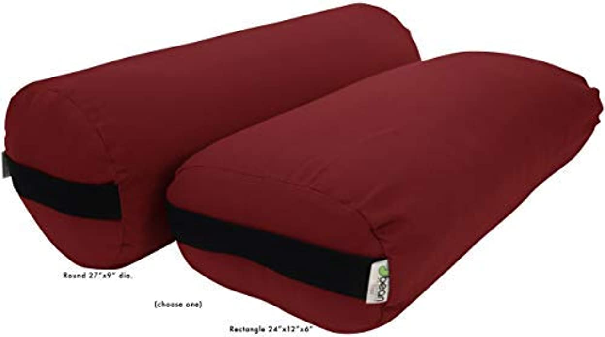 Bean Products Best Yoga Bolsters - Rectangle, Round or Pranayama Support Cushions - Meditation Zafu Massage Prop...