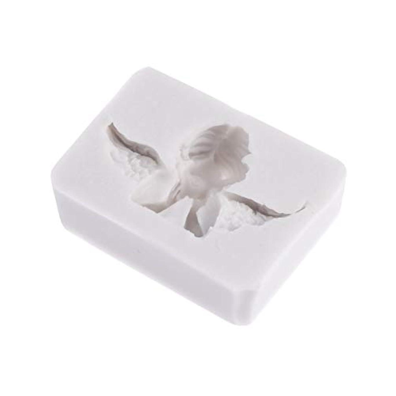 テンポ言い訳ポットSUPVOX 3Dエンジェル型金型シリコンキャンドルソープチョコレートクレイ彫刻工芸ケーキ型飾るアートツール(ライトグレー)