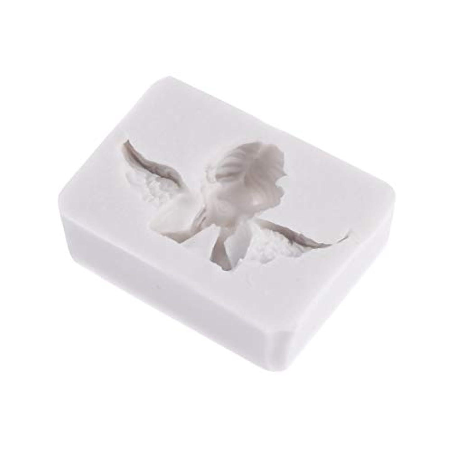 ウィンクスクレーパー教義SUPVOX 3Dエンジェル型金型シリコンキャンドルソープチョコレートクレイ彫刻工芸ケーキ型飾るアートツール(ライトグレー)