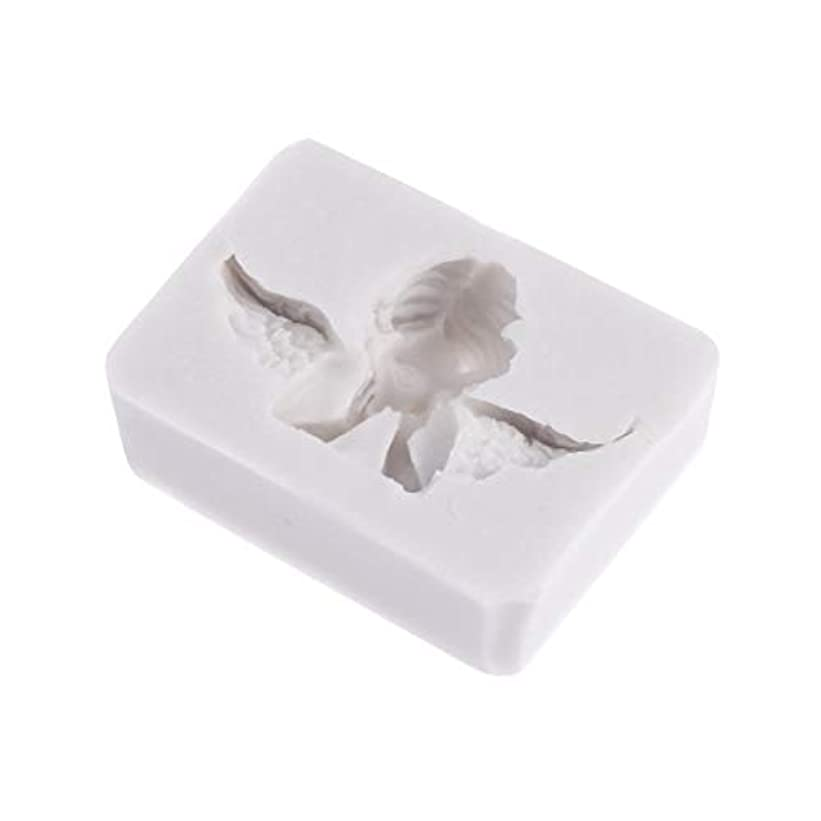 引き潮生まれラジエーターSUPVOX 3Dエンジェル型金型シリコンキャンドルソープチョコレートクレイ彫刻工芸ケーキ型飾るアートツール(ライトグレー)