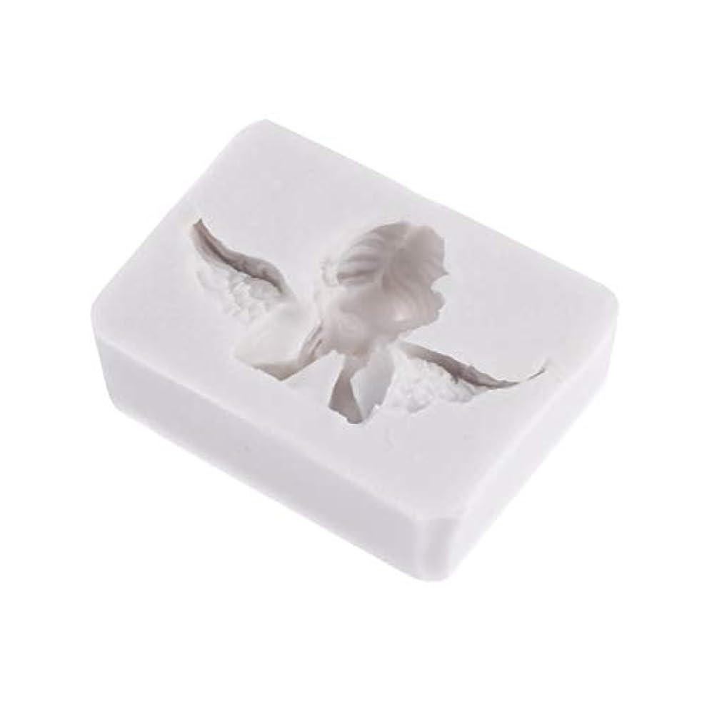 骨の折れる虫ポジションHealifty 3Dシリコーン型天使形シリコーン石鹸キャンディーケーキ型クラフト彫刻ケーキ装飾型石膏壁用石膏セメント(ライトグレー)