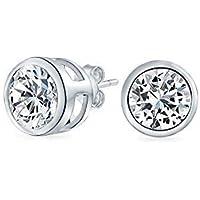 .50 CT Round Solitaire Cubic Zirconia Bezel Set Stud Earrings For Men Women 925 Sterling Silver