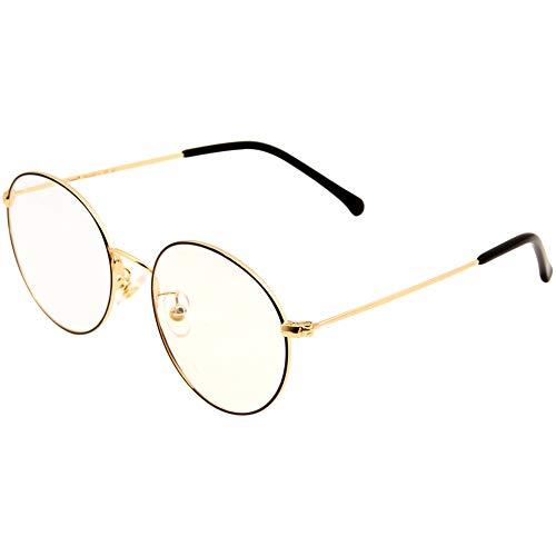 Cyxus(シクサズ)ブルーライトカットメガネ PCメガネ 視力保護 輻射防止 肌に優しい ファッション ステンレス 透明レンズ 復古円形フレーム 男女兼用 (金茶色)