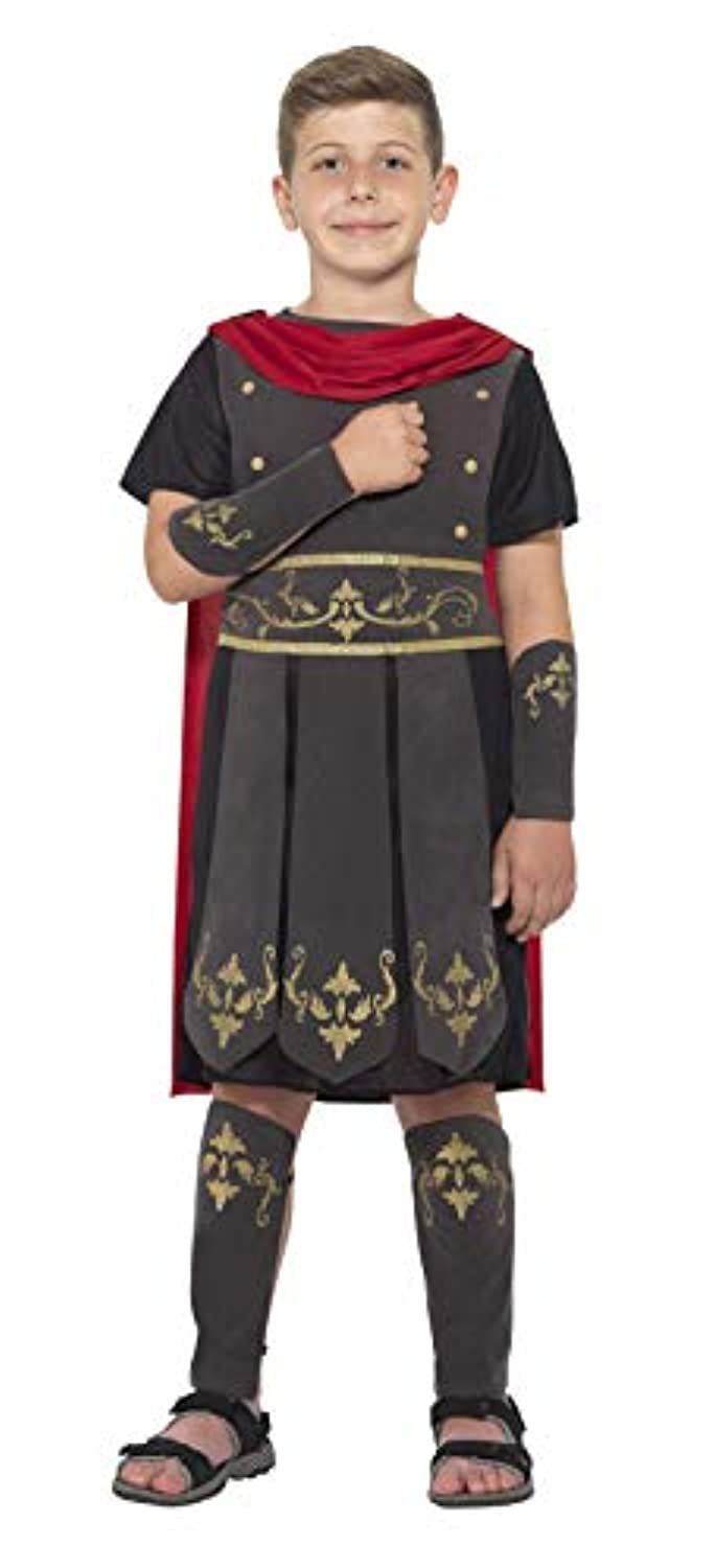 (Small Ages 4 - 6, Black) - Boys Historical World Book Week Fancy Party Outfit Kids Roman Soldier Costume