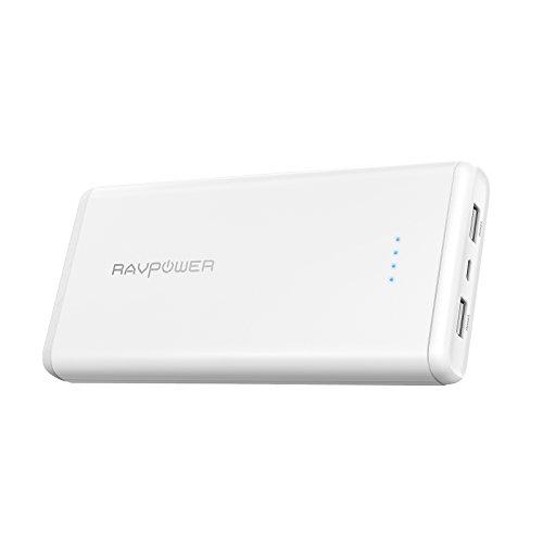 モバイルバッテリー RAVPower 20000mAh ポータブル充電器 急速充電 iSmart2.0機能(2A入力、 2ポート 、2.4A出力) iPhone X/iPhone 8 / iPad/Android 等対応 RP-PB006 ホワイト
