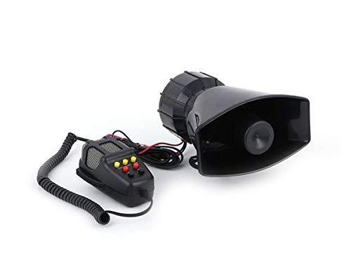 Mioke 大音量 110dB 7種の警笛音 サイレン 車載用 拡声器 スピーカー&マイクアンプセット 集会 お祭り 選挙 (ブラック)