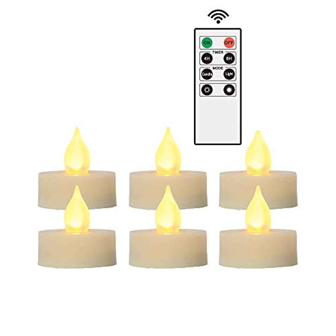 多用途防水買収Flameless LEDティーライトとリモートタイマー – リアルなちらつき乾電池式Powered Electric電子Tealight Candles by Izan 1.5