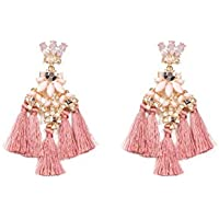Colette Hayman - Mixed Stone Tassel Statement Earrings