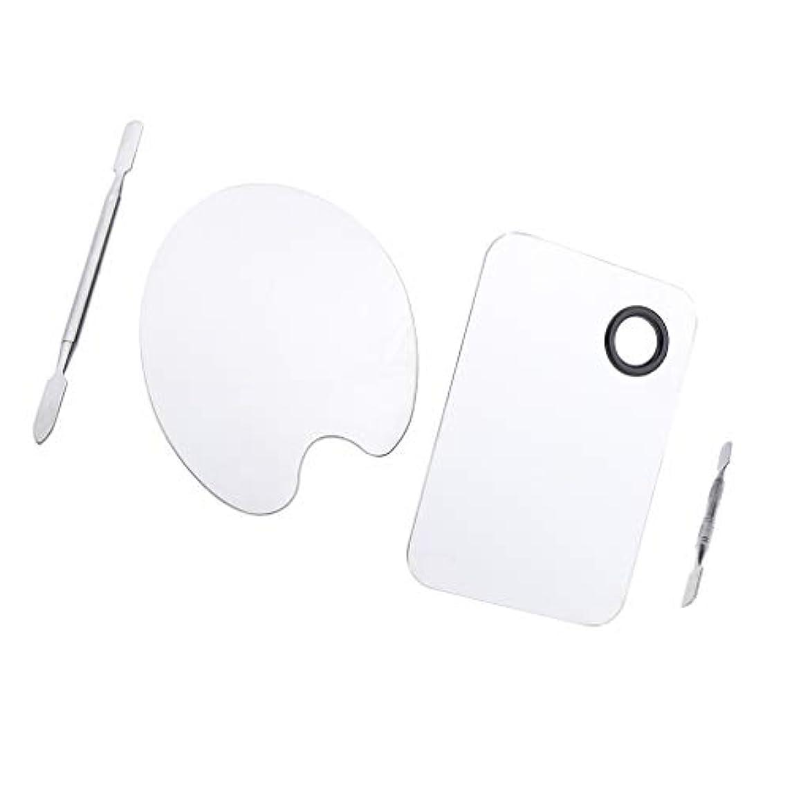 時々時々畝間方法Injoyo 5.9x3.9インチの長方形のメイクアップパレットとスパチュラセット付きのブレンドパレットと4.9x3.5インチの楕円形の化粧品ミキシングツールキット(ステンレス)