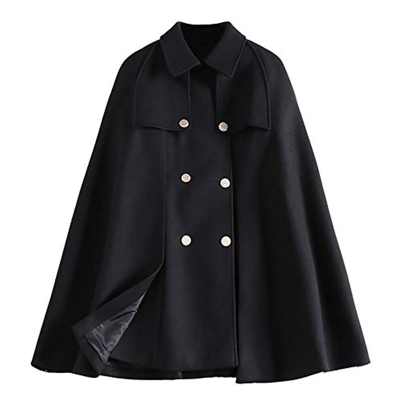 リハーサル彼女は黒板マントコート、秋と冬の新ラペルダブルブレストルースコートレディースジャケットレディース?コートレディースウインドブレーカージャケット,黒,L