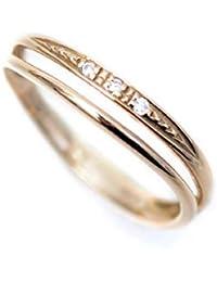 k18PG ピンクゴールドリング 天然ダイヤモンド ピンキーリング 2連調ウェーブ デザイン 18金 リング 小さいサイズ 指輪 k18 ダイヤリング (4)