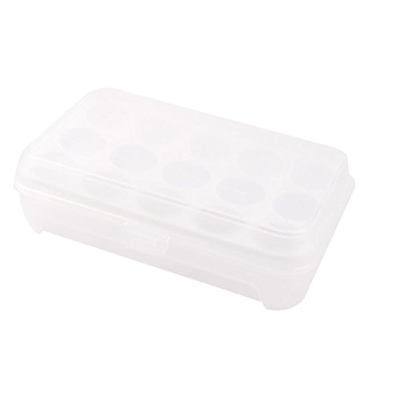 uxcell 卵入れ 冷蔵庫 プラスチック 長方形 15スロット卵 保存コンテナ 箱 ホワイト 24 x 14 x 6.5cm