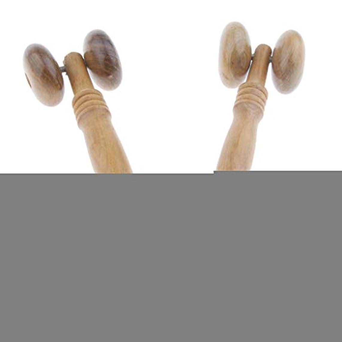 木母音インチdailymall 美顔ローラー 木製フェイスローラー 手動式 小顔ローラー 背中 マッサージ 筋肉のたるみ 2個セット
