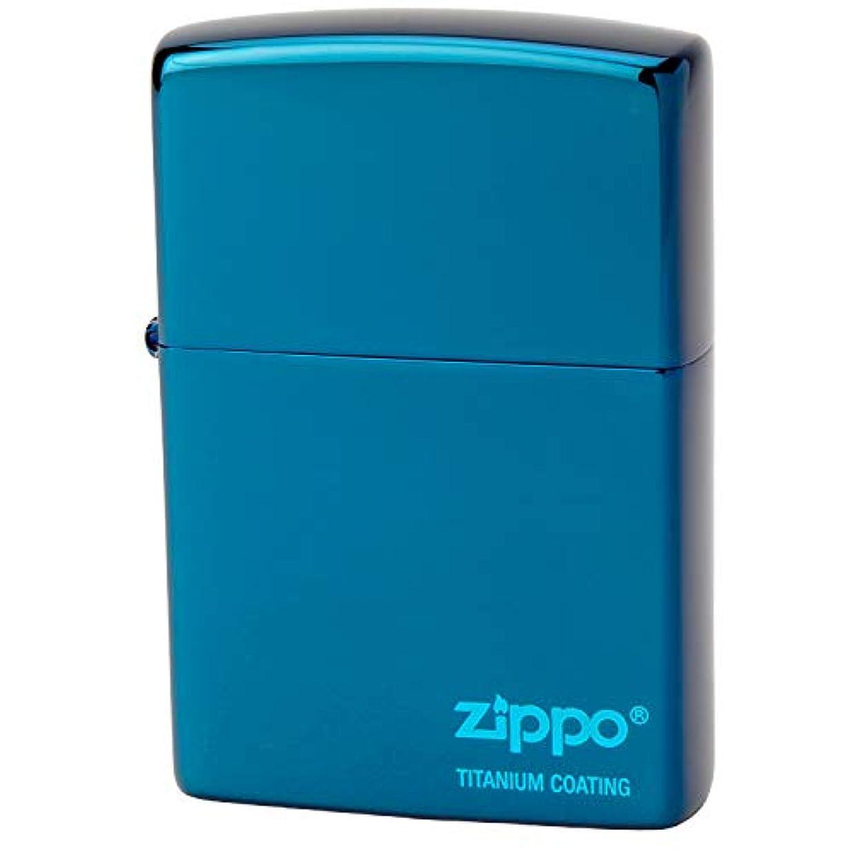 悪党賞賛透明にZIPPO(ジッポー) ライター ブルー 片面彫刻 チタンコーティング ブルー ロゴ 高さ5.5cm×幅3.8cm×奥行き1.3cm