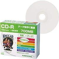 (まとめ)ハイディスク データ用CD-R700MB 52倍速 ホワイトワイドプリンタブル 5mmスリムケース HDCR80GP10SC1パック(10枚) 【×10セット】