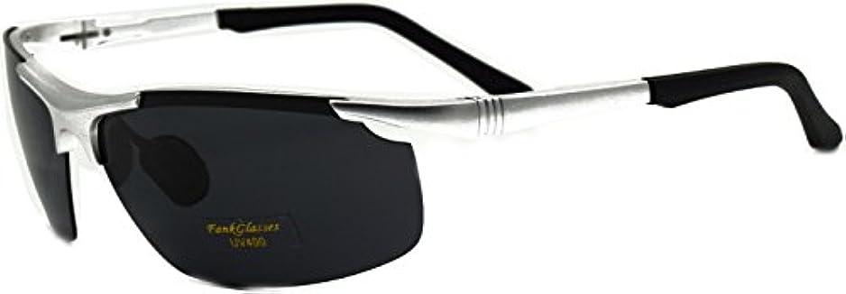 非互換アライアンスリムFankglasses 偏光レンズ スポーツサングラス 超軽量 アルミニウム?マグネシウム合金 UV400 紫外線カット スポーツサングラス/ 自転車/釣り/野球/テニス/スキー/ランニング/ゴルフ/ドライブ (シルバー)