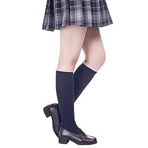 (コーラルウェー)Coral Way 女子高生の靴下 cosplayや制服用 スクールハイソックス ハイソックス コスチューム用小物 フリーサイズ 白 黒 紺 通学 靴下 ひざ下 長さ40cm丈 ブルーブラック