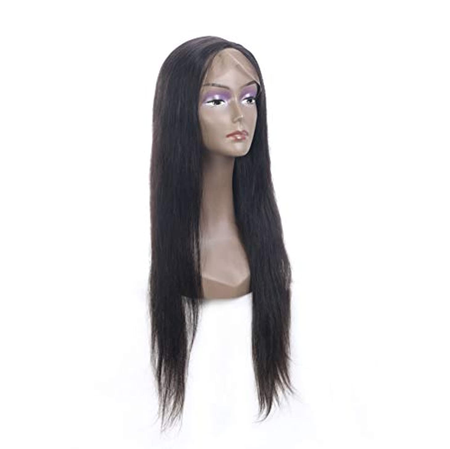 読み書きのできないスキッパーカセット女性レースフロント人毛ウィッグで摘み取られた赤ちゃんの髪150%密度バージンブラジルストレート人間の髪の毛グルーレスかつら