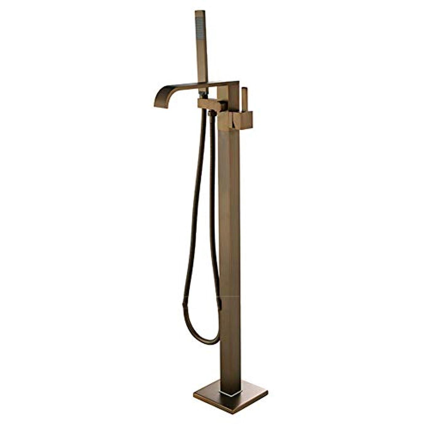歴史的お母さん人柄フロアスタンドバスタブ蛇口、浴室タップブラスシャワーダイバータフロア立っているバスタブミキサー蛇口フロアマウント立てバスタブ蛇口のための金ローズ