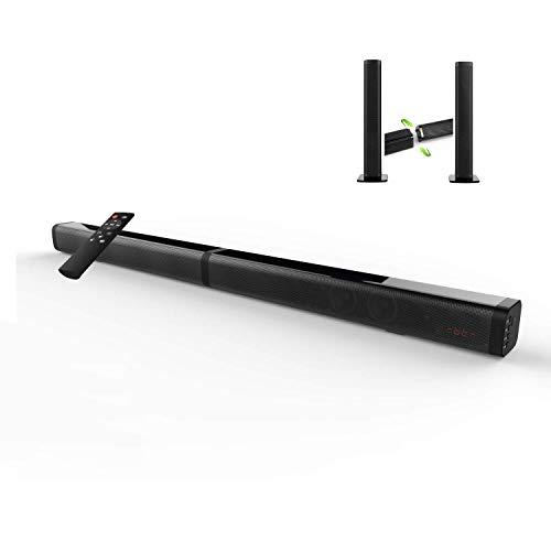 ILIFETECH サウンドバー ホームシアターシステム 2.0ch SoundBar Bluetooth speaker 40W テレビ TV スピーカー リモコン付【【Bluetooth4.2/RCA/光デジタル/AUX/USB/TF対応 】高音質 大音量 3種類の置き方 一体式/分離式/壁掛け式 Bluetooth スピーカー (S2120)