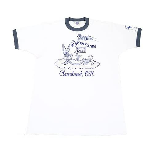 (トイズマッコイ)TOYS McCOY Tシャツ 半袖 NATIONAL AIR RACES ミリタリー バックスバニー ワーナーブロス MILITARY TEE WARNER BROS. TMC1405 XL オフホワイト