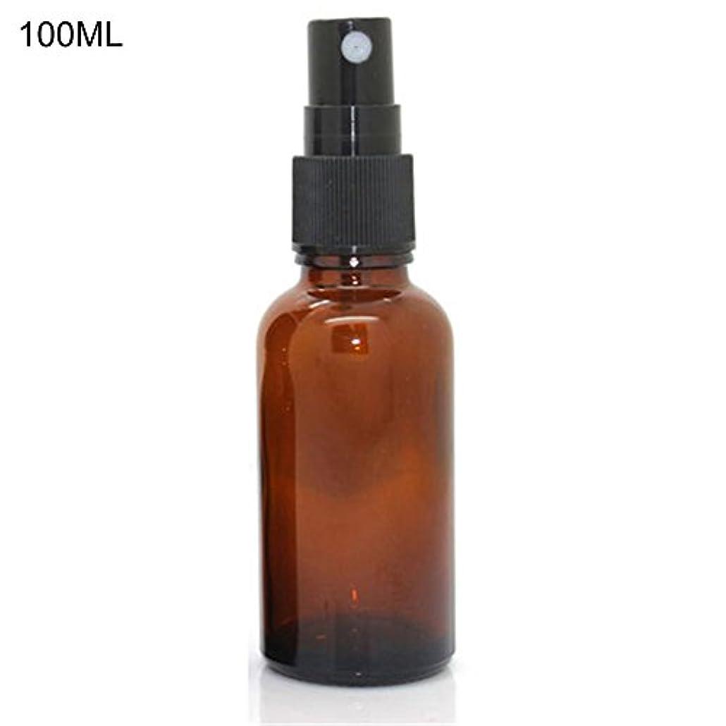 テレビストレージスーツケースhamulekfae-化粧品綺麗5ミリリットル-100ミリリットル美容空琥珀色のガラス瓶エッセンシャルオイルミストスプレーコンテナケース - 100ミリリットル