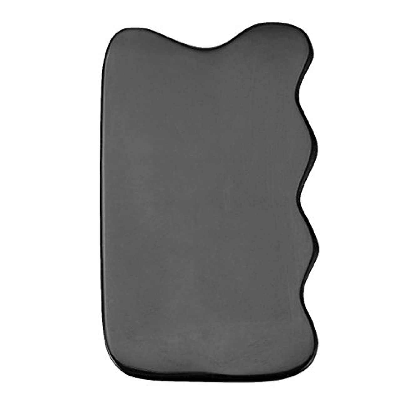 所有者スイッチ悲しみJovivi Mak カッサリフトプレート ブラック 牛角 パワーストーン カッサ板 美顔 カッサボード カッサマッサージ道具 ギフトバッグを提供 (波状)