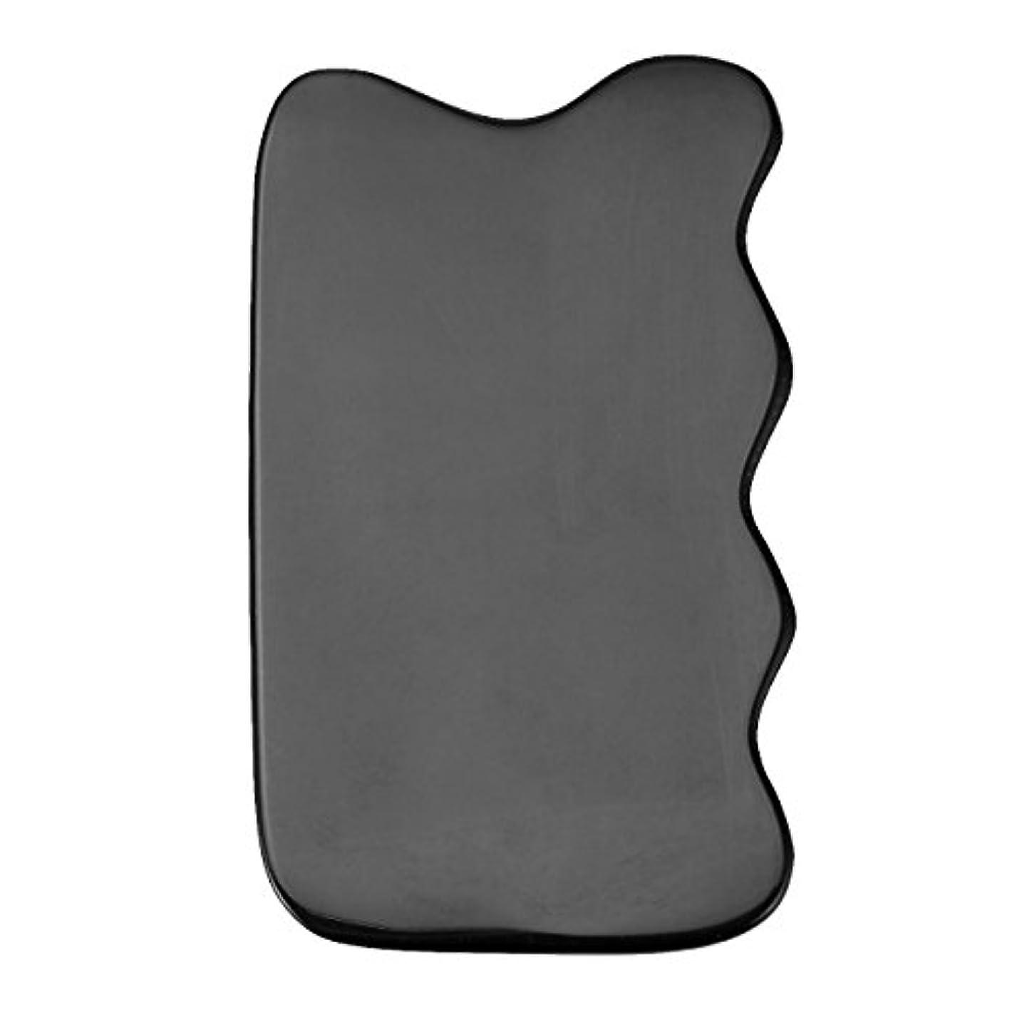 運動するウェイド足枷Jovivi Mak カッサリフトプレート ブラック 牛角 パワーストーン カッサ板 美顔 カッサボード カッサマッサージ道具 ギフトバッグを提供 (波状)