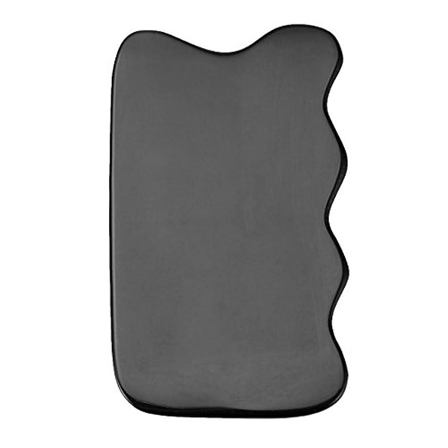 厚い利得ボットJovivi Mak カッサリフトプレート ブラック 牛角 パワーストーン カッサ板 美顔 カッサボード カッサマッサージ道具 ギフトバッグを提供 (波状)