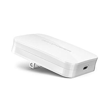 RAVPower USB-C急速充電器 (45W/PD対応/超薄デザイン) 【GaN(窒化ガリウム)採用/折畳式/PSE認証済/Power Delivery対応】iPhone 11/11 Pro/11 Pro Max/XR/8、Galaxy S10、MacBookその他USB-C機器対応 RP-PC104 白
