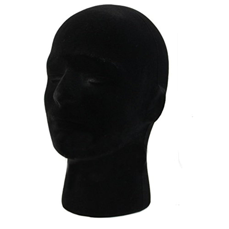 SODIAL(R) 男性発泡スチロールフォームマネキン マネキンヘッドモデル かつらメガネディスプレイスタンド 黒