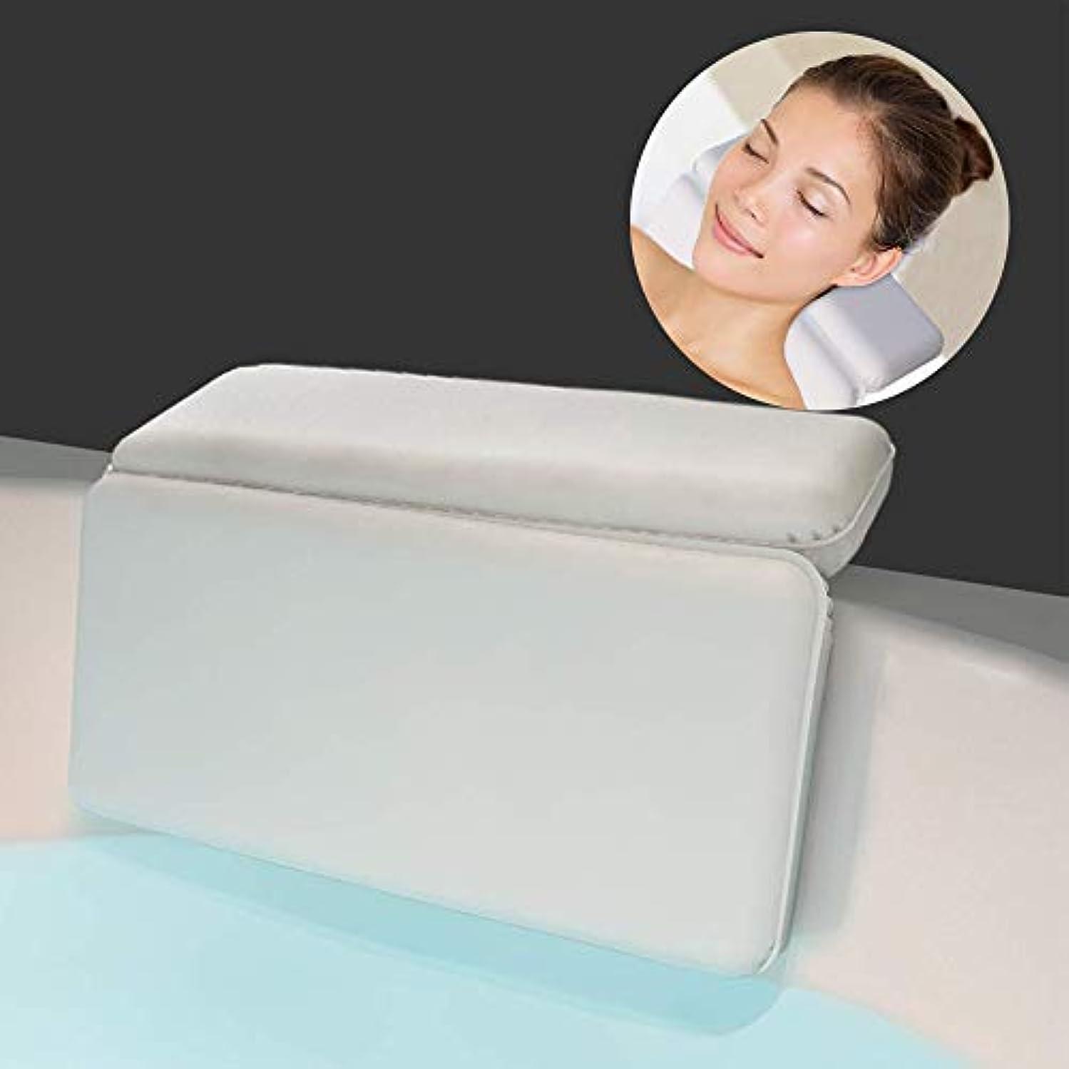 見る抜け目がない触手サクションカップ付き防水ソフトバスピローショルダー&ネックサポート用の高級バスクッション。あらゆるサイズの浴槽にフィット